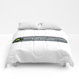 """ACHIEVEMENT UNLOCKED: I left the House"" Funny Quote Comforters"