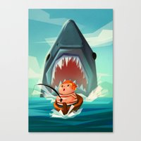 jaws Canvas Prints featuring JAWS by Aggie Cheung