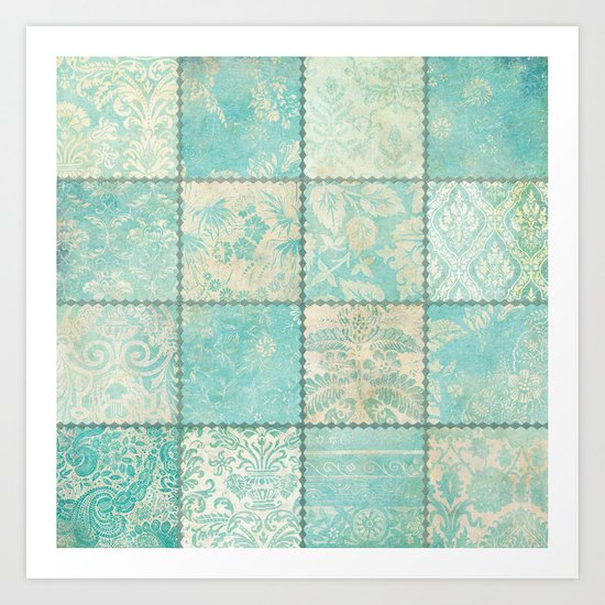 Blue Patchwork Art Print