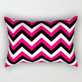Pink White and Black Chevrons Rectangular Pillow