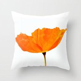 One And Only - Orange Poppy White Background #decor #society6#buyart Throw Pillow