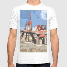 Red Rocket White LARGE Mens Fitted Tee