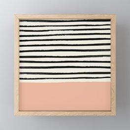 Peach x Stripes Framed Mini Art Print