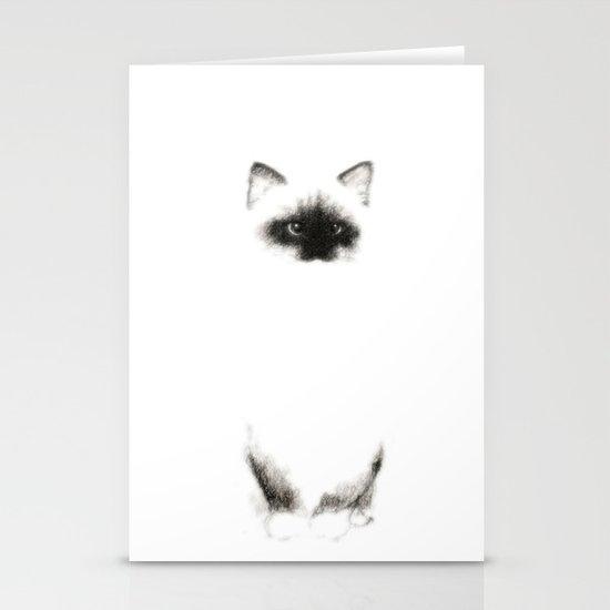 Angora Siamese Cat - Chat Siamois Angora Stationery Cards