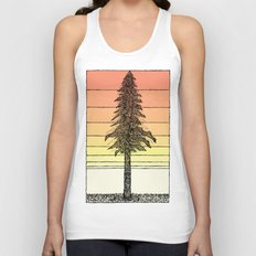 Coastal Redwood Sunset Sketch Unisex Tank Top