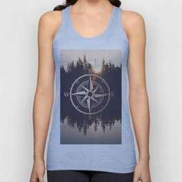 Rose Gold Compass Forest Unisex Tank Top