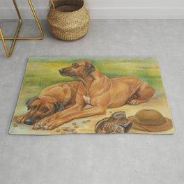 Rhodesian Ridgeback Dog portrait in scenic landscape Painting Rug