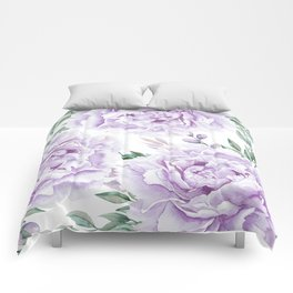Pretty Purple Flower Garden Comforters