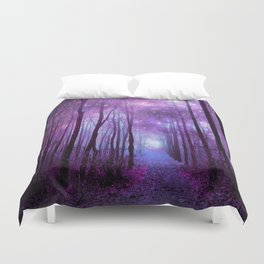 Fantasy Forest Path Purple Pink Duvet Cover
