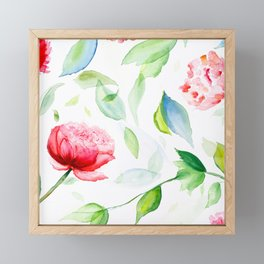 Watercolor flowers and leaves Framed Mini Art Print