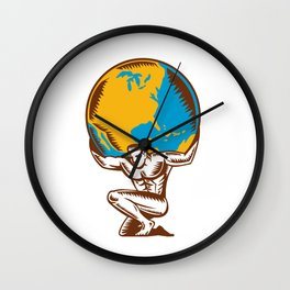 Atlas Lifting Globe Kneeling Woodcut Wall Clock