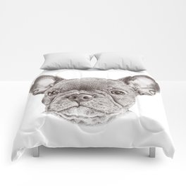 Drawing of french bulldog Comforters