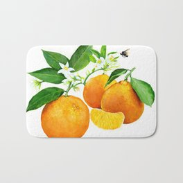 Oranges and their blossoms Bath Mat