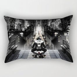 Poster with a biker on a motorcycle in the form of an angel looking into the distance of the urban v Rectangular Pillow