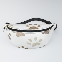 Shining brown colored paw print background Fanny Pack