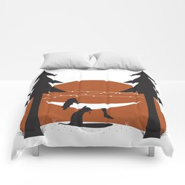 Camping with Dogs Comforters