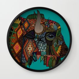 bison teal Wall Clock