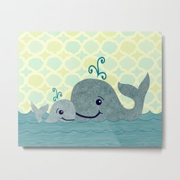 Whale Mom and Baby Metal Print