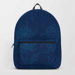 Ocean Blue Dahlia Flowers Backpack