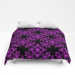 Dazzling Violet Vintage Brocade Damask Comforters
