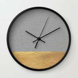 Color Blocked Gold & Grey Wall Clock