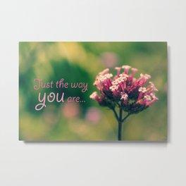 Spring Blooming Pink Flowers with Green Bokeh Background Metal Print