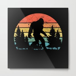 Bigfoot with retro sunset mountain scenery Metal Print