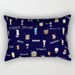 Happy Hour Cocktails and Brews on Dark Blue Rectangular Pillow