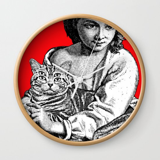 Young Girl with Cat Wall Clock
