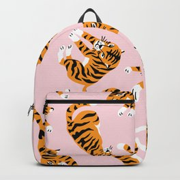 Cute tiger in the tropical forest hand drawn on pink background illustration Backpack