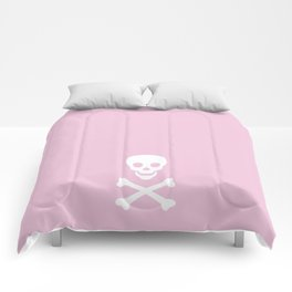 LIGHT PINK & WHITE SKULL Comforters
