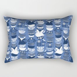Swedish folk cats I // Indigo blue background Rectangular Pillow