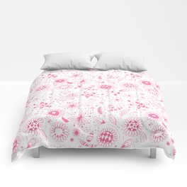 Pink doodle flowers pattern on white Comforters