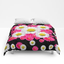 Festive Pink Gerbera & White Daisy Flowers Black Patterns Art Comforters