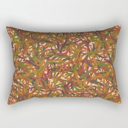 Woodland Forest Floor, Camouflage Plants in Woods Illustration Pattern in Forest Green & Brown Rectangular Pillow