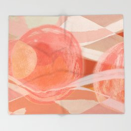 Shapes and Layers no.22 - Pink, coral, peach, orange abstract painting Throw Blanket