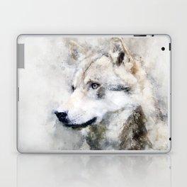 Watercolour grey wolf portrait Laptop & iPad Skin
