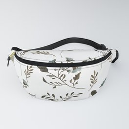 Bluebells and Bluebirds Floral Pattern Flowers in Blue and Bark Brown Fanny Pack