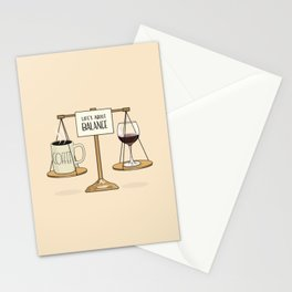 Coffee and Red Wine - Life's About Balance Stationery Cards
