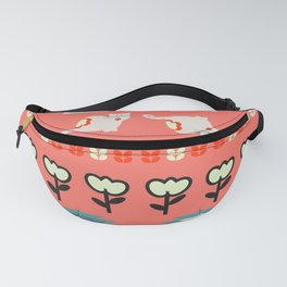 Winter pattern  with cats and flowers Fanny Pack