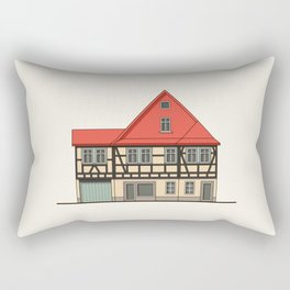 Half-timbered house with red roof Rectangular Pillow