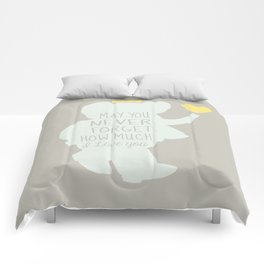 Babar inspired-May you never forget how much I love you Comforters