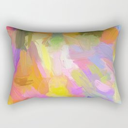 Abstract pink teal orange paint brushstrokes  Rectangular Pillow