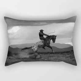 Black and White Cowboy Being Bucked Off Rectangular Pillow
