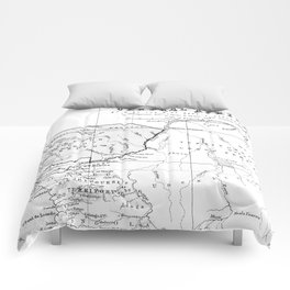 Black And White Vintage Map Of Africa Comforters