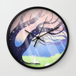 Soft Light On Soft Bunnies In Aloquil's Glades Wall Clock