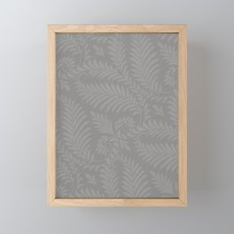 Pantone Pewter Fancy Leaves Scroll Damask Pattern Framed Mini Art Print