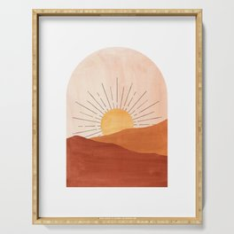 Abstract terracotta landscape, sun and desert Serving Tray