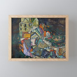 "Egon Schiele ""Stadtende Häuserbogen III"" Framed Mini Art Print"