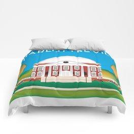 Charlottesville, Virginia - Skyline Illustration by Loose Petals Comforters